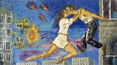 Krzysztof Skarbek, Sierpniowym porankiem całujemy się za oknem, 1987, akryl, olej, płótno, 280 x 450 cm