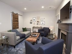 New Perspective - Rockin' Renos from HGTV's Property Brothers on HGTV - love the barn door and the blue.