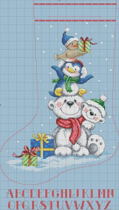 Did this one as a Christmas stocking. Cross Stitch Christmas Stockings, Cross Stitch Stocking, Xmas Cross Stitch, Cross Stitch Needles, Cross Stitch Baby, Cross Stitch Animals, Cross Stitch Kits, Christmas Cross, Counted Cross Stitch Patterns