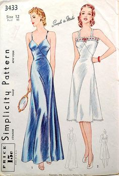 Vintage sewing pattern dated 1941 for a full length and knee length slip.