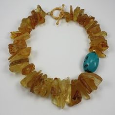 Raw Columbian Amber and Turquoise Necklace