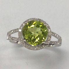 Peridot Engagement Promise Ring,Round Cut 8mm,Halo .35ct Diamond 14K White Gold