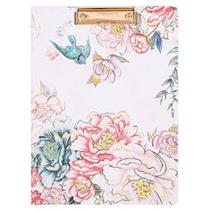 Take notes where you please with our elegant A4 padfolio, featuring a swallow floral design with soft pinks and gold metallics. Paperchase, Sora, Pink And Gold, Floral Design, Stationery, Swallow, Elegant, Metal, A4