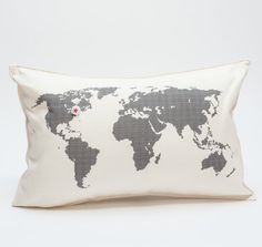 natural organic hemp pillows printed with a map of the world.