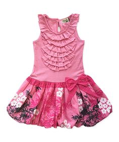 Look at this Pink Floral Ruffle Dress - Toddler & Girls on #zulily today!