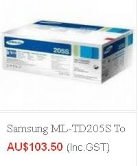 Buy high quality samsung-ml-td205s- toner at $ 103.50 and many other models at Cheap rates from eTONERS having ware-house in Sydney. Get FREE Shipping across Australia excluding Tasmania & Norfolk Island..!