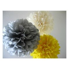 10 Tissue Paper Pom Poms -Large and Medium Your Color Choice- SALE ❤ liked on Polyvore