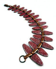 Red Modernist  Renoir Matisse Copper Enamel Bracelet by joevintage, $98.00