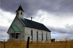 Old Little Abandoned White Church in John Day, Oregon