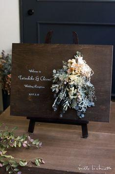 アンティークカラー スワッグウッド ウェルカムボード_01 Space Wedding, Wedding Paper, Floral Wedding, Wedding Welcome Board, Welcome Boards, Diy Wedding Decorations, Wedding Themes, Wedding Signs, Wedding Guest Table