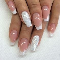 22 + Fantastic Acrylic Nails Designs 2018 Nail French, Nails French Design, French Tip Acrylic Nails, White Acrylic Nails With Glitter, White Tip Nails, French Tips, French Acrylics, White Nail Art, Colored Tip Nails