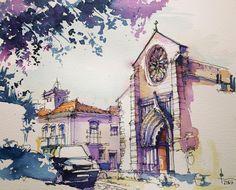 2,338 отметок «Нравится», 14 комментариев — Pedro Alves (@dk_limp) в Instagram: «Graça Church in #santarém #Portugal #sketchbooks #sketchpad #sketch #arches #archespaper…»