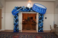 Music Bar & Bat MItzvah Theme Ideas - Balloon Columns with Instrument Cut Outs by Life O' The Party - mazelmoments.com