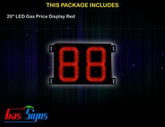 20 Inch 88 LED Gas Price Display Red with housing dimension H590mm x W755mm x D55mmand format 88 comes with complete set of Control Box, Power Cable, Signal Cable & 2 RF Remote Controls (Free remote controls).