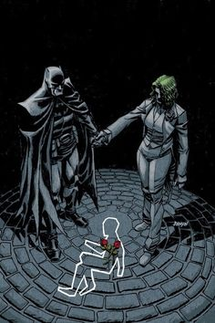 An alternate universe where Bruce Wayne dies causing his father to become Batman and his mother to go insane and become the Joker, I believe that's the Flashpoint universe.