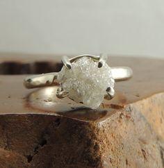 Rough Diamond 14k White Gold Ring Handmade Engagement Ring, Uncut Diamond Ring Conflict Free Diamond, Raw Diamond