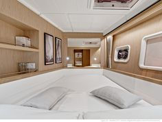 Lagoon 39 - Kat Marina - The guest cabins An entrance with hanging locker , plenty of storage and a double bed.