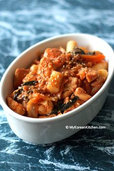 Dak galbi 닭갈비, a korean stir-fried chicken dish with rice cake