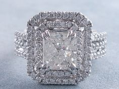 2.45 ctw Radiant Cut Diamond Engagement Ring H SI2. For sale for $5,990 on our website www.bigdiamondsusa.com or call us at 1-877-795-1101 for more information.