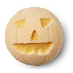 Pumpkin Bath Bomb: a cinnamon, vanilla, and pimento berry bath-o'-lantern!