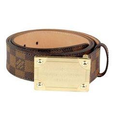 louis vuitton brown damier leather enamle plaque buckle belt