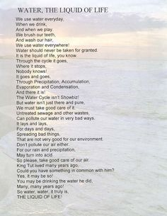 Image detail for -Thumbnail Image: Award-Winning Poem Water Poems, Poems About Water, Grade 2 Science, Science Fun, About Water Cycle, Animal Poems, Free Poems, English Rhymes, Poetry For Kids