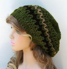 Olive slouchy beanie, smaller Hippie Dread Tam Hat, green crochet beanie, woman man slouch hat, slouchy beanie, vegan, soft, handmade beanie