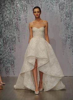 Monique Lhuillier wedding dress Fall 2016 silk white cameo Chantilly lace strapless sweetheart mini dress with high low cascading skirt