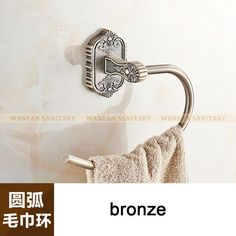 Luxury Golden Finish Flower Carved Bathroom Towel Rack Holder Bar Wall Mounted Bathroom Accessories 3307