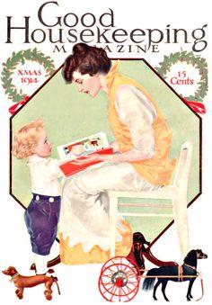 Christmas 1914 Good Housekeeping Dachshund toy, horse, child, book