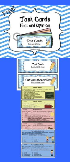Free Task Cards: Fact and Opinion (Common Core Grades 3-6)