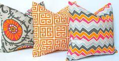 Decorative Pillows Accent Pillows Trio in Tangerine Orange 20 x 20 Inches Chevron, Greek Key and Suzani. $50.00, via Etsy.