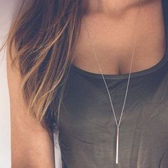 Minimal bar necklace | Long necklace with simple bar pendant, Dainty sterling silver necklace, White gold jewelry, Layering necklace