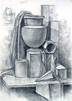 Ideas for drawing pencil artworks Pencil Sketch Drawing, Basic Drawing, Pencil Drawings, Academic Drawing, Still Life Drawing, Still Life Sketch, Geometric Drawing, Object Drawing, Drawing Projects