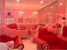 cafe, couches, hello kitty, japan, pink