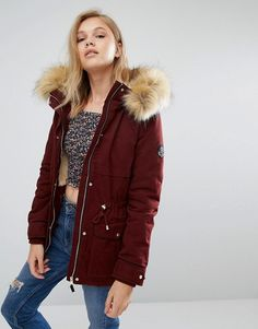 Pimkie Short Padded Coat With Faux Fur Trim in burgundy at Asos