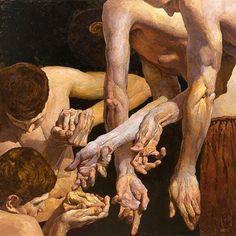Denis Sarazhin (Ukrainien, né en Pantomime no Huile sur toile, 40 x 40 po. Figure Painting, Painting & Drawing, Foto Fantasy, Pantomime, Ukrainian Art, Art Academy, Art Moderne, Gay Art, Contemporary Paintings