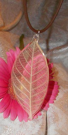 SOLD! Pressed Flower Skeleton Leaf Necklace 32 by prettypressedpetals,