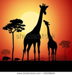 Come with me to Africa Africa Painting, Africa Art, Silhouette Painting, Animal Silhouette, Giraffe Art, Bright Art, Black Artwork, Landscape Artwork, Giraffes