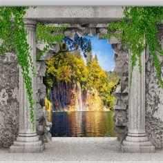 Grandes papéis de parede personalizados coluna Romana do furo da parede cachoeira paisagem 3D sala quarto TV pano de fundo papel de parede 3d(China (Mainland))