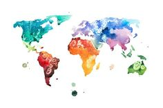 watercolor world map. Water Infographic. $3.00
