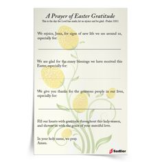 Download my Prayer of Easter Gratitude and use it with your family or class to name the ways you have been blessed this Easter.  #Prayer #Catholic #Catholics #Easter