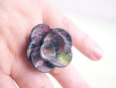 Gift for artist Black Multicolor Flower Ring by CocoFlowerShop