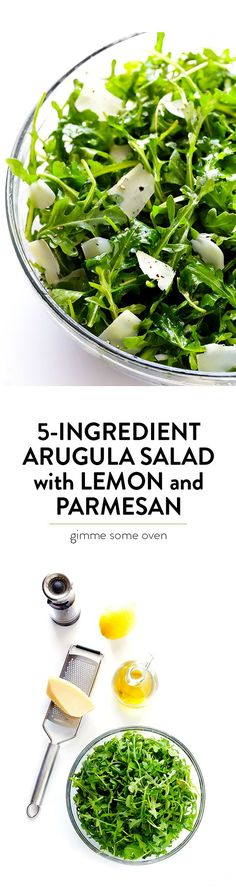 This 5-Ingredient Arugula Salad with Parmesan, Lemon and Olive Oil is super easy to make, and always tastes so fresh and delicious! | gimmesomeoven.com