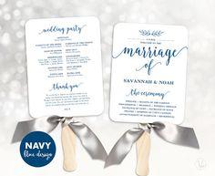 Navy Blue Wedding Fans Printable Wedding Fan by VineWedding