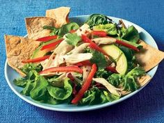 Southwestern Chicken Salad With Crispy Tortilla Chips http://www.prevention.com/food/healthy-recipes/farmers-market-recipe-finder-avocados/southwestern-chicken-salad-crispy-tortilla-chips