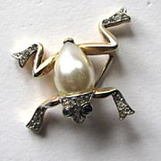 Trifari  Alfred Philippe Faux Pearl Belly Leaping Frog Brooch