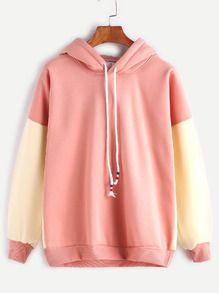 Pink Contrast Dropped Shoulder Seam Drawstring Hooded Sweatshirt