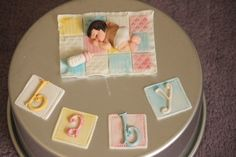 gum paste cake toppers made for a baby shower.