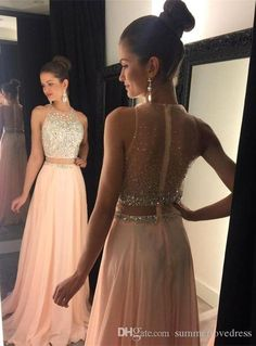 Sexy Prom Dress,a-line Round Neck Pink Prom Dress,long Prom Dress,chiffon Sequin Long Prom Pieces Evening Dress Prom Dresses Two Piece, Unique Prom Dresses, A Line Prom Dresses, Beautiful Dresses, Evening Dresses, Prom Gowns, Long Dresses, Quinceanera Dresses, Ball Dresses